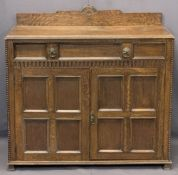 VINTAGE OAK RAILBACK SIDEBOARD - with single frieze drawer and twin lower cupboard doors, 103cms