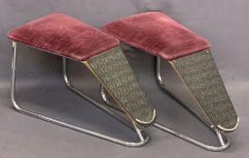 CHROME & VELVET UPHOLSTERED SHOE SHOP FOOTRESTS (2) - 36cms H, 66cms L, 31cms max W
