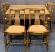 GOOD VINTAGE OAK DRAW LEAF DINING TABLE & FOUR CHAIRS - the table on substantial bulbous and block
