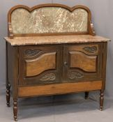 CIRCA 1900 MARBLE TOP WASHSTAND - having a shaped back panel with line inlay, pink marble top and