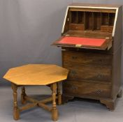 NEAT REPRODUCTION MAHOGANY FALL-FRONT BUREAU - having a red gilt tooled leather interior writing
