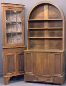 REPRODUCTION OAK FURNITURE, 2 ITEMS - a Dutch top dresser with single central cupboard door to the