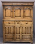 GEORGE III WELSH OAK DEUDDARN - peg joined construction and panel sided with moulded cornice and