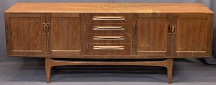 G PLAN MID-CENTURY TEAK LONG SIDEBOARD - having four central drawers flanked by twin sets of two