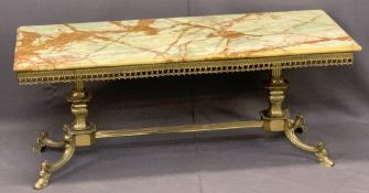 MID-CENTURY BRASS & ONYX COFFEE TABLE - the rectangular top over a galleried frieze, urn shape
