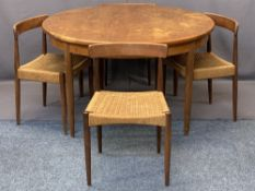 MOGENS KOLD TEAK DINING CHAIRS (4) and a G Plan teak circular extending dining table, the chairs