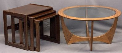 STYLISH MID-CENTURY TEAK G PLAN STYLE CIRCULAR COFFEE TABLE with glass top along with a stylish