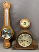 MANTEL CLOCK - polished, chiming, eight day with pendulum and key, 22 x 30cms and two wall