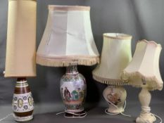 CHINESE TABLE LAMP, 39cms H, a mid-Century style table lamp and two others