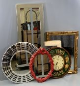 MIRRORS - an assortment of mainly modern and a Dewberry, London 'Vins D'Alsace' decorate wall clock