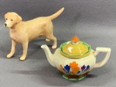 CLARICE CLIFF 'BIZARRE' crocus pattern octagonal shaped teapot, 12cms H and a Beswick Labrador