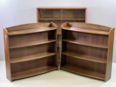 REMPLOY BOOKSHELVES, a pair with bow fronts, 90cms H, 92cms W, 22cms D and a sliding glass door