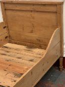 ANTIQUE PINE BED, 99 x 99 x 193cms