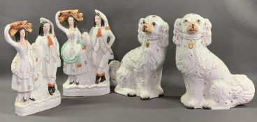 STAFFORDSHIRE FLATBACKS, a pair of Scottish couples, 33cms H and a pair of comforter dogs, 34cms H