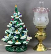 JENNY PHILLIPS OF WALES POTTERY Christmas tree lamp, 47cms H, brass based oil lamp with etched glass