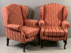 'JUDE HOLDINGS' - pair of modern wingback armchairs with striped and garland upholstery, 102cms H,