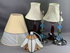 LIGHTING - a pair of modern bobble type lamps, another pair of glass lamps ETC