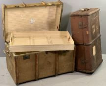 TWO VINTAGE WOODEN BANDED TRAVEL TRUNKS, the largest with inner tray, labelled 'Keanes of Broad