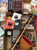 ECLECTIC PARCEL including boxed MB 'Simon' game, old slide viewer, Sony cassette player, binoculars,