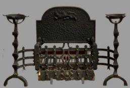 CAST IRON FIRE GRATE, pair of fire dogs with tool rests and cup warming holders, 60cms H, 100cms