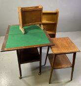 POLISHED OBLONG TROLLEY - two shelf with foldover baize top with a quantity of playing cards etc