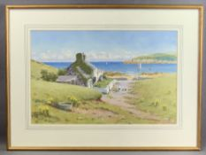 WARREN WILLIAMS ARCA watercolour - typical Anglesey cottage and coastal scene, 32 x 49.5cms