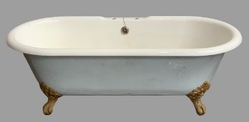 BATHROOM FURNITURE - vintage Heritage freestanding cast iron bath tub on ornate gilded claw feet,