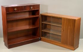 REPRODUCTION BOOKCASE with two upper drawers, 103cms H, 92cms W, 30cms D and a teak style bookcase