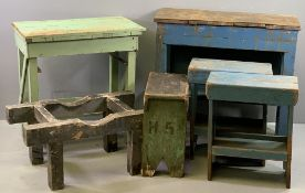 FURNITURE ASSORTMENT - vintage pine and old garage benches and saw horses ETC