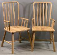FRANK HUDSON ELBOW CHAIRS, a pair, modern, high, stick back, 103cms H, 50cms W, 40cms D