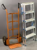 SACK TRUCK and a McAllister double sided five tread ladder