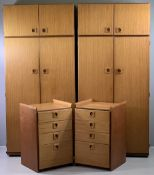 TEAK TYPE BEDROOM FURNITURE by Schreiber to include a pair of wardrobes, 195cms H, 90cms W, 53cms