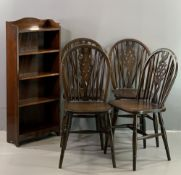 SET OF FOUR DINING CHAIRS, wheelback, 90cms H, 38cms W, 32cms D and a polished narrow five open