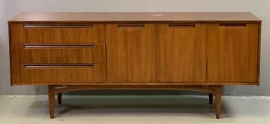 MID-CENTURY TYPE SIDEBOARD with three drawers and three cupboard doors, 76cms H, 186cms W, 45cms D