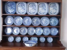 DRESSER PLATES & PLATTERS - approximately twenty five pieces of blue and white