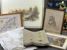VINTAGE BED COVERS, framed tapestries, prints ETC