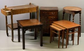 FURNITURE ASSORTMENT to include a bow fronted narrow reproduction chest, barley twist circular