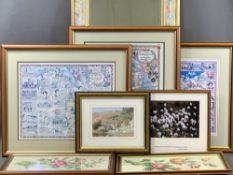 MEIRION ROBERTS EISTEDDFOD POSTERS (3), small JEAN MORGAN-ROBERTS watercolour, woolwork pictures,