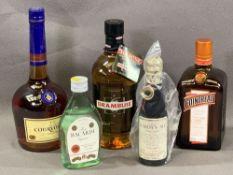 ALCOHOL - sealed bottles, 70cl Drambuie, 70cl Cointreau, 70cl Cognac Courvoisier ETC