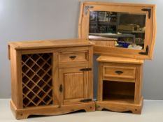 PINE WINE RACK CUPBOARD, 91cms H, 104cms W, 51cms D, with extending flap, a matching single drawer