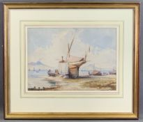 WILLIAM PAGE watercolour - titled verso 'Boat with Figures on the Shore of Naples Bay', 24.5 x