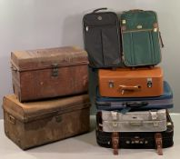 VINTAGE TIN TRUNKS by Antler & Crown and a quantity of old suitcases