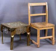 ANTIQUE BRASS FOOTMAN, 31cms H, 32cms W, 33cms D and a vintage child's chair