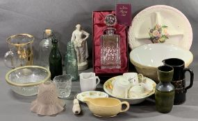 GLASS DECANTER - boxed 'The Ravenhead Company, Regency Suite', also vintage soda bottles and other