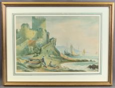 J SALMON watercolour - fishermen at work near shoreline in castle grounds, signed, 17 x 39cms