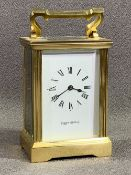 MAPPIN & WEBB BRASS CARRIAGE CLOCK, 13cms H (handle down)
