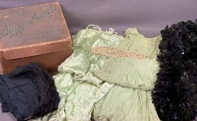 VINTAGE LADY'S CLOTHES, FEATHERS & PEARLS in an old retail box for 'Stagg & Mantle, Leicester