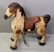 VINTAGE MOBO TINPLATE RIDE-ON HORSE, 76cms H, 70cms L