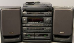 AIWA STACKING STEREO SYSTEM including double tape deck and turntable, remote control and speakers