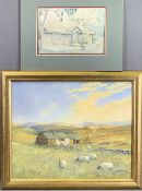 W TAYLOR oil on board - grazing sheep on moorland with farm buildings and stone wall to the